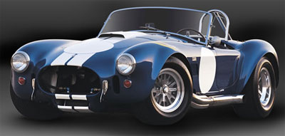 Picture blue classic shelby with white racing stripe